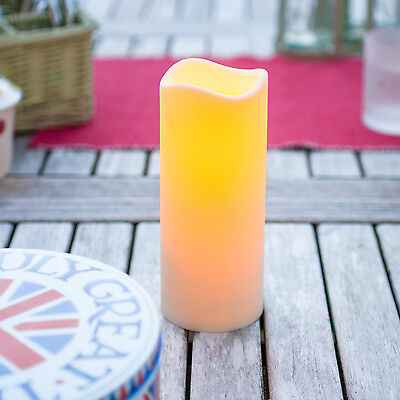 18cm Battery Operated Outdoor LED Candle Garden Patio Light With 6 Hour Timer