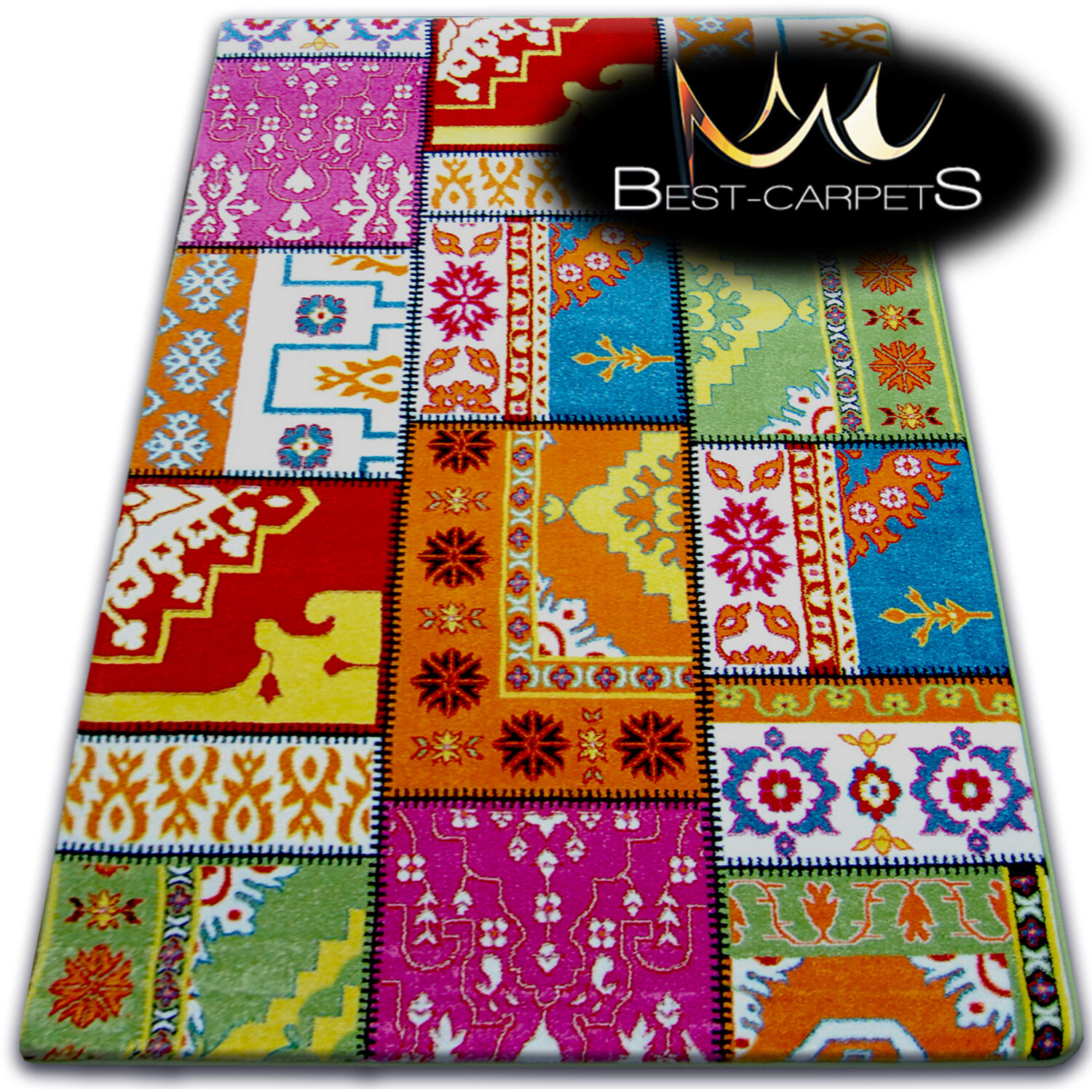Thick MODERN RUGS 'PAINT' CARPETS ORIGINAL COLORFUL CREAM Ch