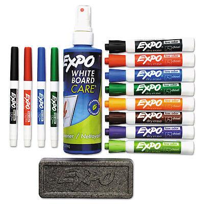 Expo Low-odor Dry Erase Marker Eraser Cleaner Chiselfine 12set 80054