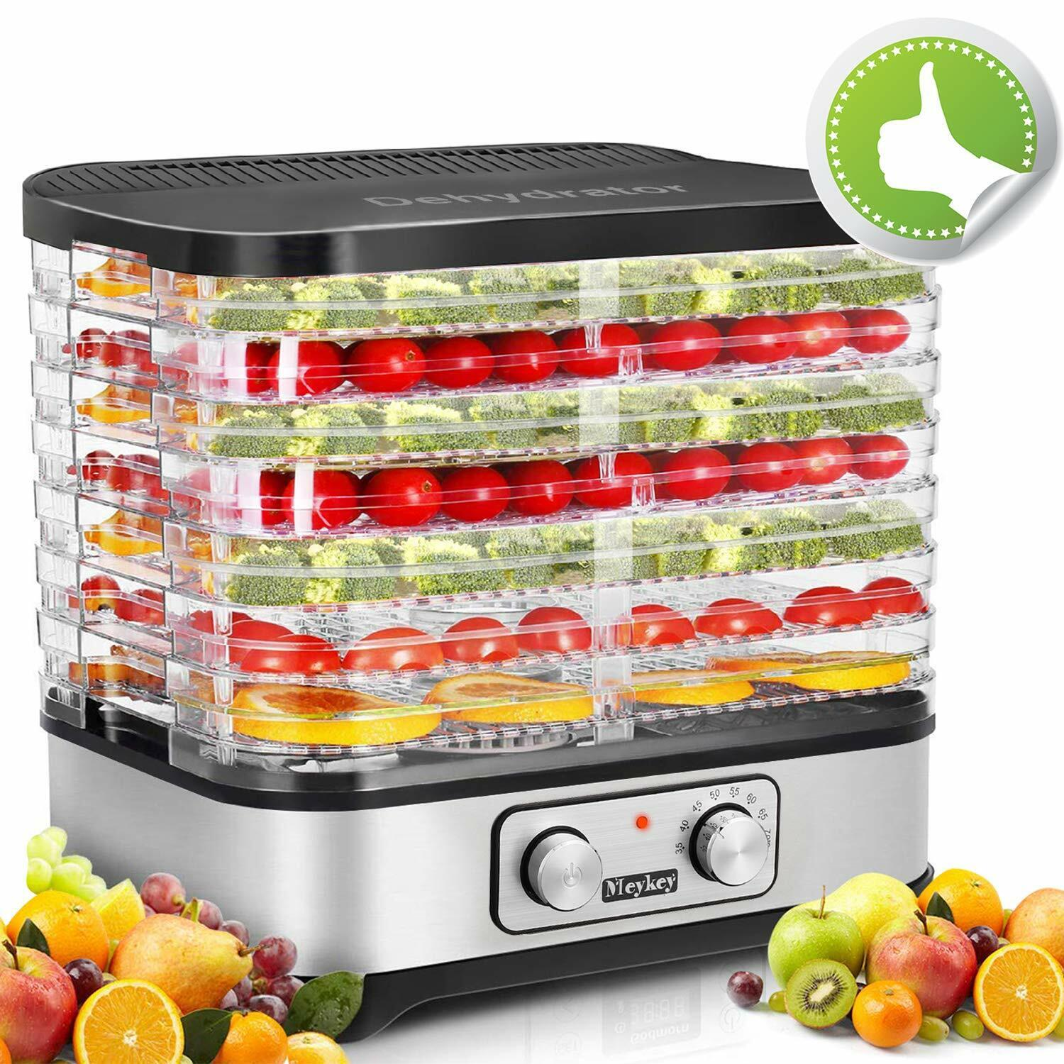 8 Stackable Trays Electric Food Dehydrator Machine Fruit Dry
