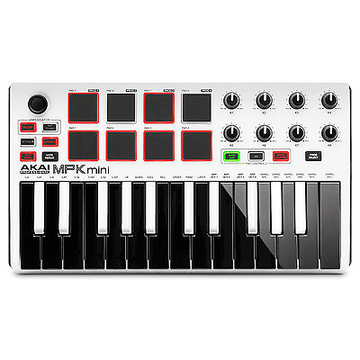 White Mini Usb - Akai MPK Mini MKII MK2 25-Key Compact USB MIDI Keyboard MPC Pad Controller White
