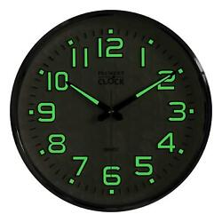 Plumeet Night Light Wall Clocks, 13 Inches Clock with Silent Non-Ticking Glowing
