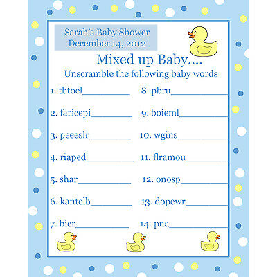24 Personalized Word Scramble Baby Shower Game Cards -  Blue Rubber Ducky