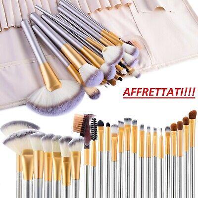 ✅ SET PENNELLI TRUCCO MAKE UP PROFESSIONALI 24 PZ Con Custodia Per Cosmetica ✅