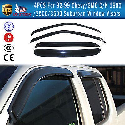 4PCS For 1992-1999 Chevy/GMC C/K 1500/2500/3500 Suburban Window Visors Deflector