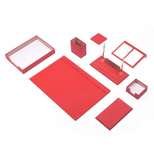 Leather Desk Set 10 Pieces with Single Document Tray Desk Organizer Red