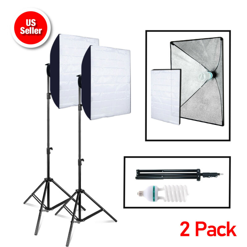 2 X Photography Photo Studio Lighting Softbox Stand and 85W bulb Light Kit