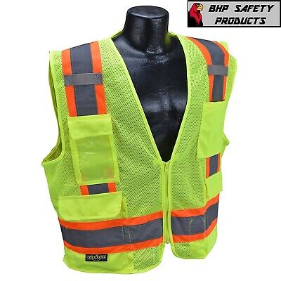 Surveyor Style Two Tone Mesh Safety Vest Class 2 With 6 Pockets Ansiisea 107