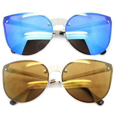 Promi Übergröße Cat Eye Sonnenbrille Metallrahmen Verspiegelte Linse Damen Mode