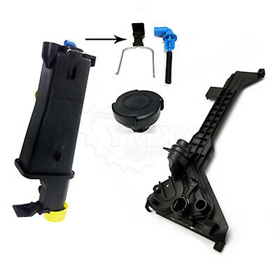 New BMW Coolant Overflow Expansion Tank + Mounting Plate Bracket + Sensor + Cap