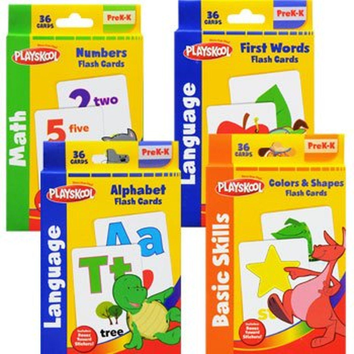 Playskool Flash Cards 4 Sets of Alphabet Numbers Colors Shapes First ...