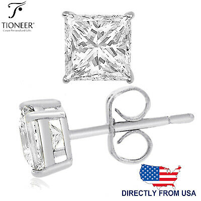 Sterling Silver 925 Square Princess Cubic Zirconia Men Women Ear Stud Earrings