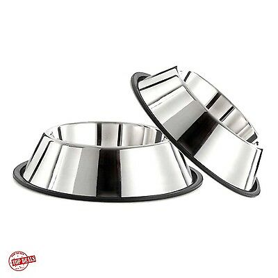 Dog Bowl Set Food Big Adult Pet Stainless Steel Water Bowls 32 Ounces Large New