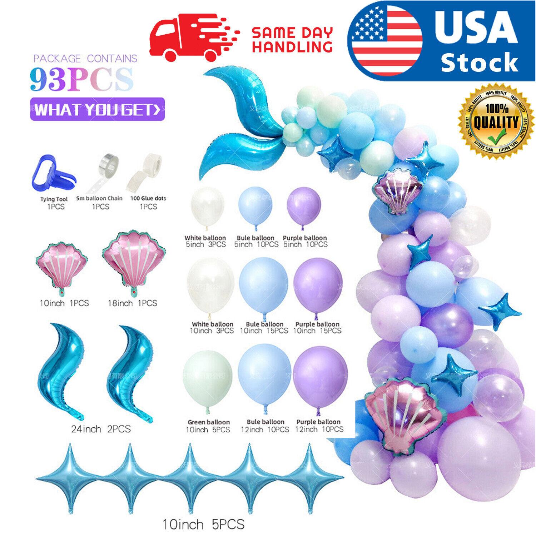 93pcs Mermaid Tail Balloon Garland Arch Mermaid Theme Birthday Party Decorations Balloons