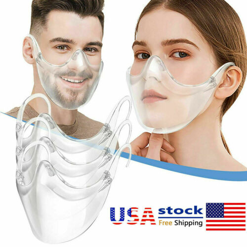Durable Mask Face Shield Plastic Reusable Clear Face Mask Cover Transparent USA
