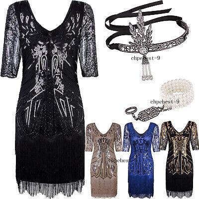 Roaring 20's Dresses For Women Plus Size Women's 1920s Flapper Dress V Neck Bead