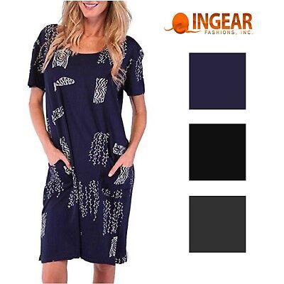 Ingear Womens Short T-Shirt Dress Swim Cover Up