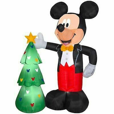 Gemmy Disney 7.5' Ft Mickey Mouse With Christmas Tree Inflatable