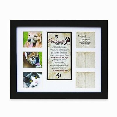 """Pet Memorial Collage Frame for Dog or Cat with Sympathy """"Pawprints Left by Yo..."""