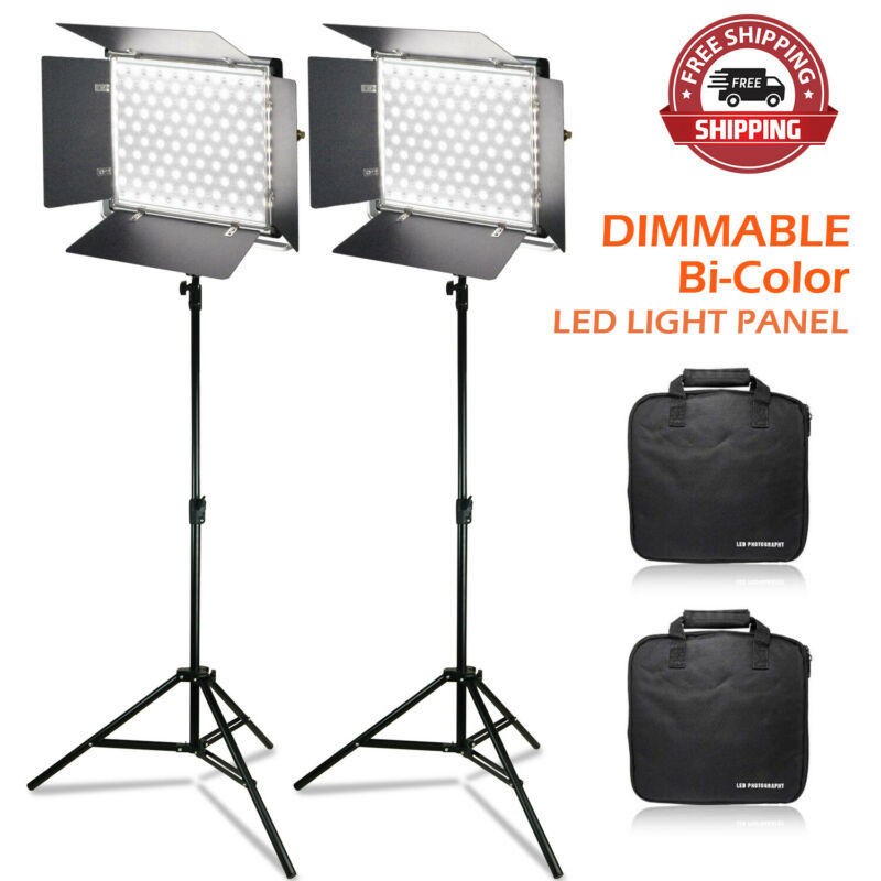 [2 SET] Photography Video 480 LED Light Panel with Diffuser Dimmable Bi-Color
