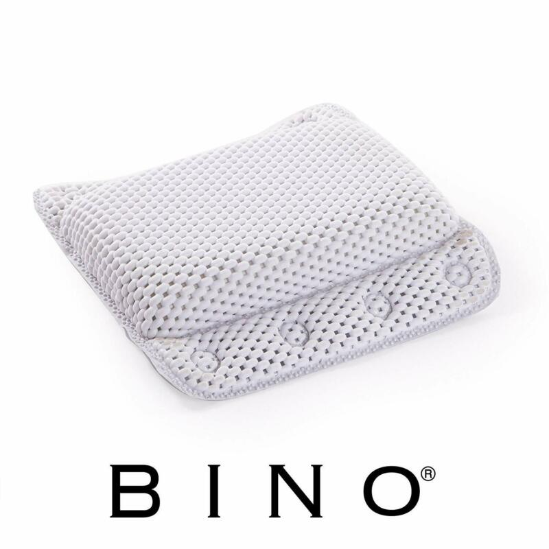 BINO Non-Slip Cushioned Bath Pillow With Suction Cups, White