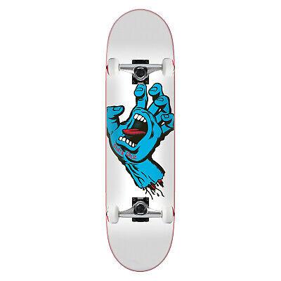 "Santa Cruz Skateboard Screaming Hand Taper Tip White 8.25"" Raw trucks ASSEMBLED"
