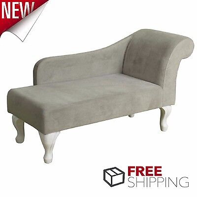 Chaise Lounge Chair Gray Suede Lounger Living Room Furniture Daybed Sofa Couch