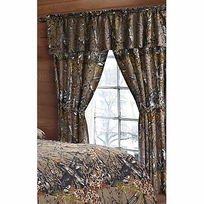 Camo Camouflage The Woods New 5 Pc Curtain Set With Panels  Tie Backs    Valance