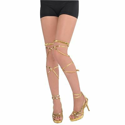 Adult Ladies Greek Grecian Egyptian Gold Leg Wraps Shoe Accessory Fancy Dress