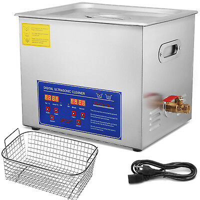 New Stainless Steel 10l Liter Industry Heated Ultrasonic Cleaner Heater Timer