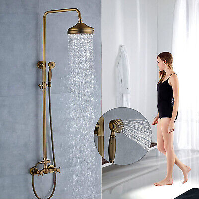Antique Bronze Bathroom Shower Faucet 8 inch Rain Mixer With Hand Sprayer Tap