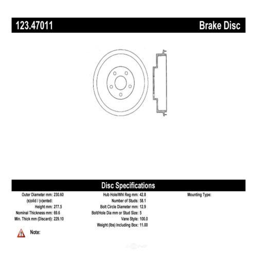 C-TEK Standard Brake Drum fits 1997-2008 Subaru Forester Impreza  C-TEK BY CENTR