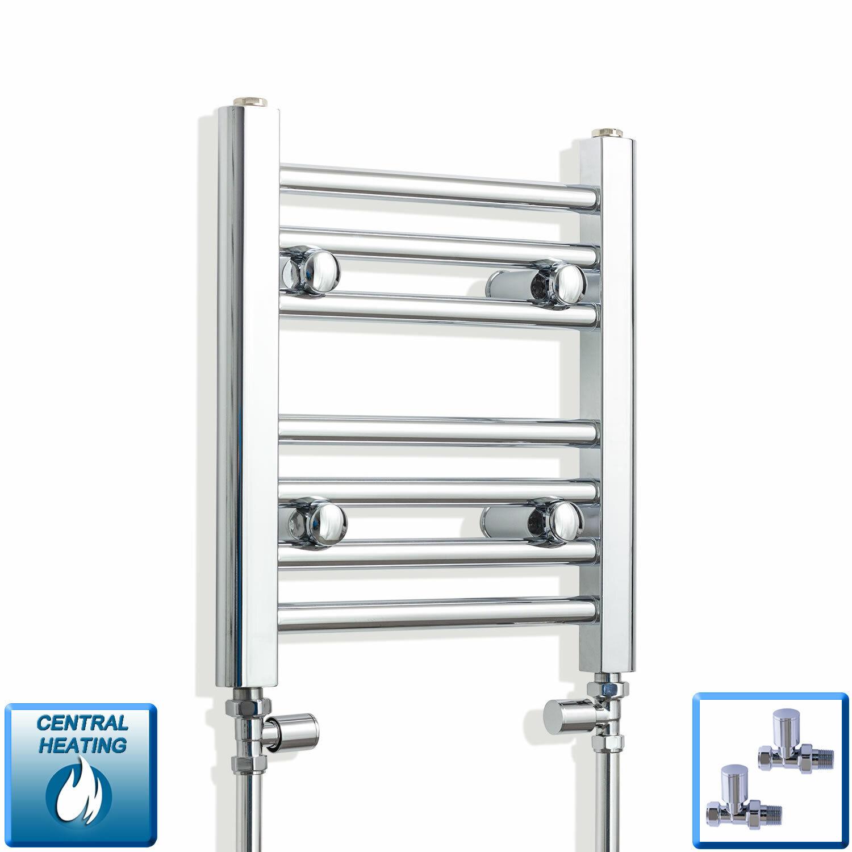 300mm wide x 1000mm high Heated Towel Rail Straight Flat Chrome Bathroom Warmer Radiator Rack Central Heating