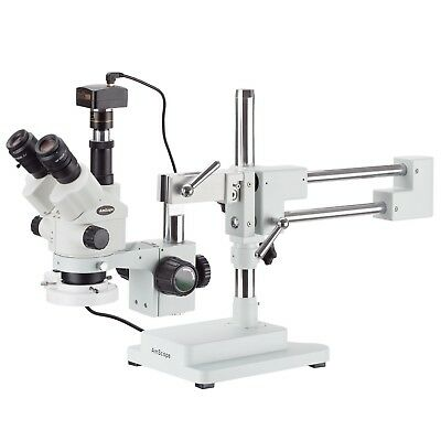 7x-45x Simul-focal Stereo Zoom Microscope On Boom Stand Ring Light 10mp Came