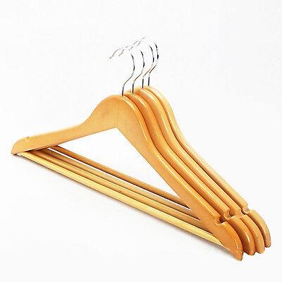 20er Holz Kleiderbügel Holzbügel Anzugbügel Garderobenbügel Hosenstange 44*23cm