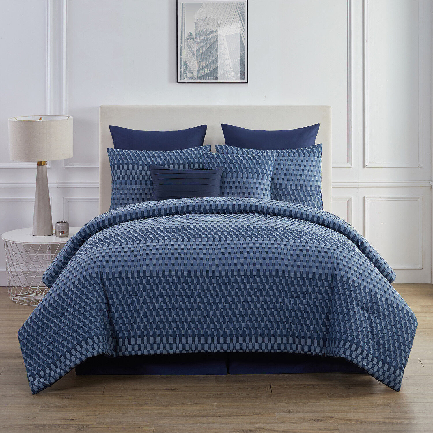 8-Piece King or Queen Geometric Comforter and Sham Bedding Set, Navy Blue Grey Bedding