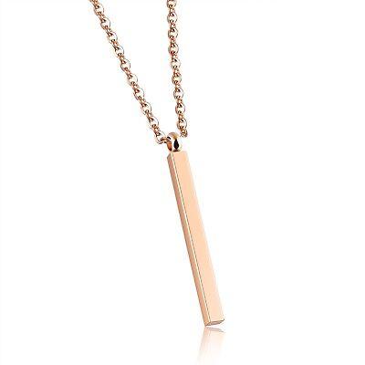 Gold Rectangular Pendant - Stainless Steel Rose Gold Rectangular Bar Pendant and Necklace-Engraving Avail.