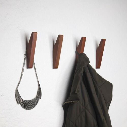 Mid-Century Coat Hooks Modern Teak Wood Wall (Set Of 4) Office Products