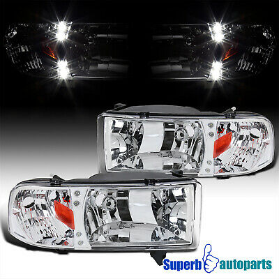 For 1994-2001 Dodge Ram 1500 2500 3500 LED Crystsl Headlights Lamps Pair