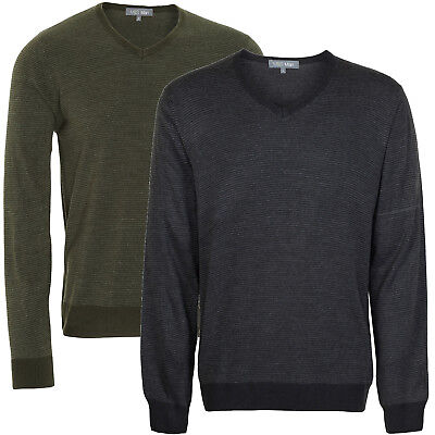 Striped V-neck Pullover (Marks & Spencer Mens V Neck Striped Long Sleeve Jumper New M&S Sweater Pullover)