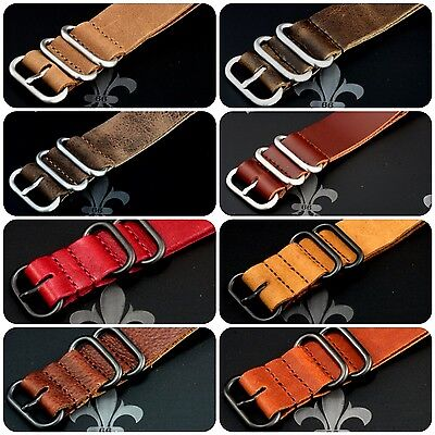 (Leather Watch Strap Band Wrap Military 5 Ring S/S & PVD Many Colours & Sizes)