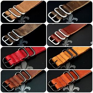 Leather-Watch-Strap-Band-Wrap-Military-5-Ring-S-S-PVD-Many-Colours-Sizes