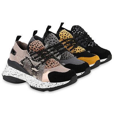 Damen Plateau Sneaker Strick Turnschuhe Kunstfell Leo Print 831787 Schuhe