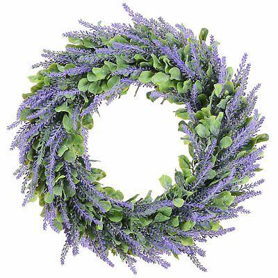 Door Hanging Artificial Lavender Flowers Wreath Garland Wall Wedding -