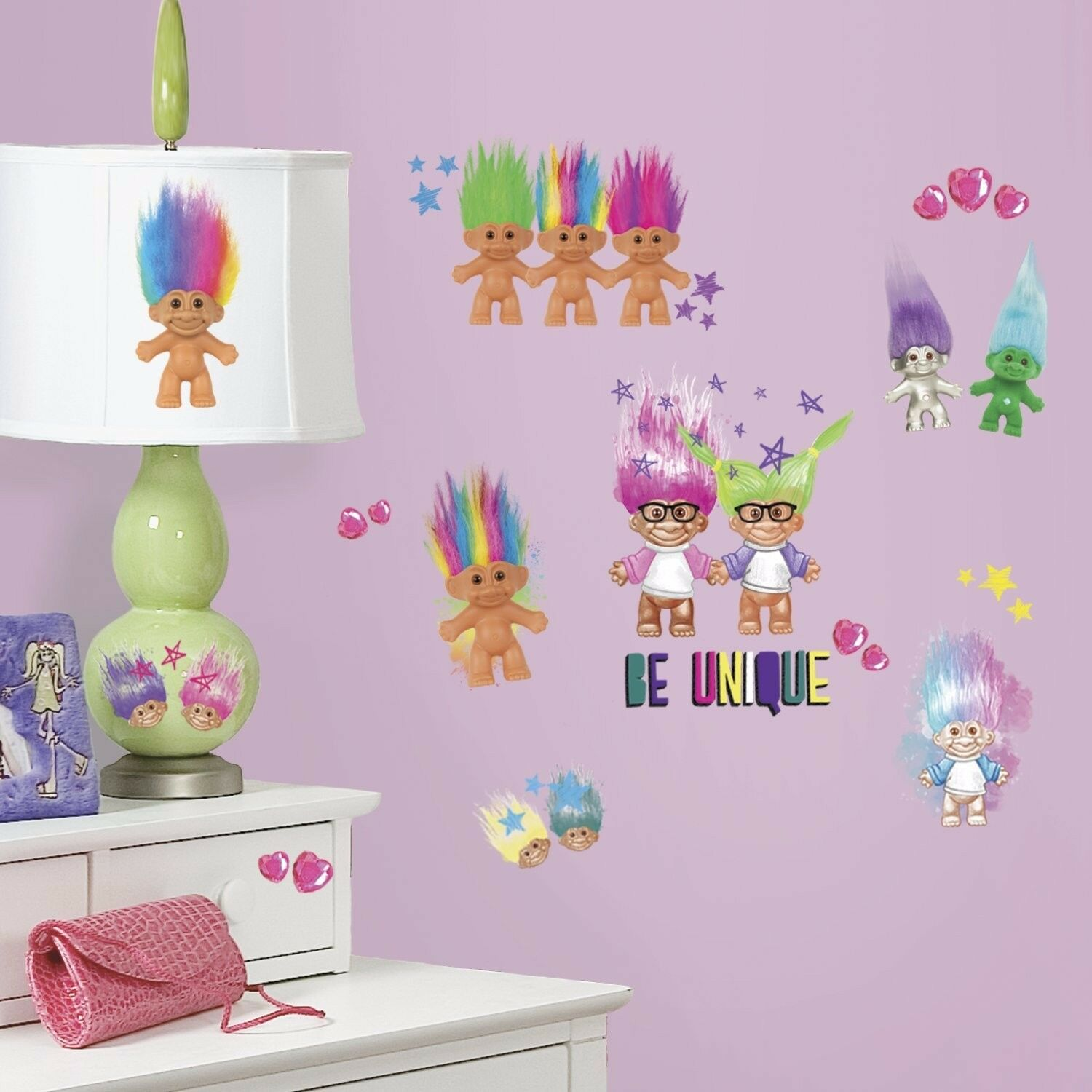 """""""GOOD LUCK TROLLS 30 PEEL AND STICK WALL DECALS"""" ROOMMATES R"""