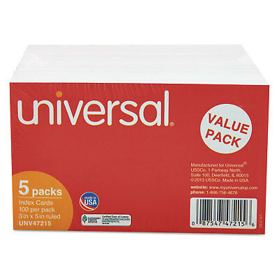 Universal Ruled Index Cards 3 X 5 White 500pack 47215