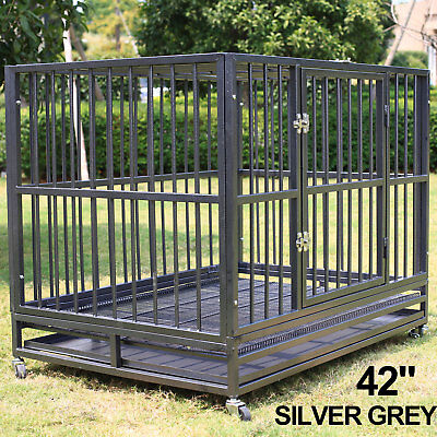 42'' Heavy Duty Dog Crate Cage Kennel Solid Metal Pet Playpen Exercise w/ Tray