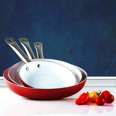 3 Pack Healthy Ceramic Frying Pan Set   Nonstick Ceramic Red Pans   Metal Handle