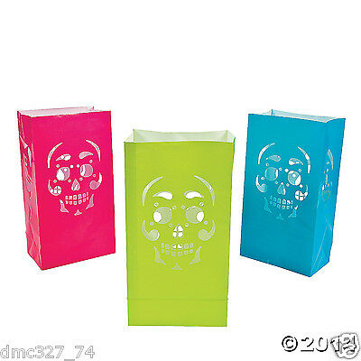 Paper Bag Halloween Luminaries (12 HALLOWEEN Day Of The Dead Party Decoration Prop Paper SKULL LUMINARY BAGS)