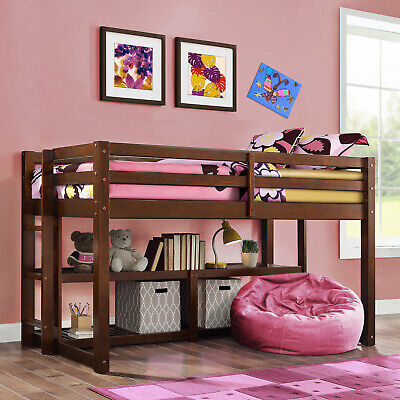 Twin Size Loft Storage Bed Frame For Kids Teens Girls Boys With Storage Shelves Boys Loft Beds